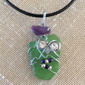 Genuine Green Sea Glass and Amethyst Boho Pendant